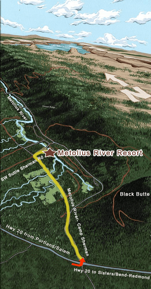 Map to Metolius River Resort