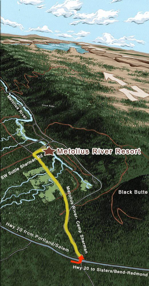 Map to Metolius River Resort